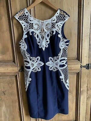 £3 • Buy Ladies Dress 18 Lipsy Michelle Keegan Beautiful Navy/white Fitted Worn Once