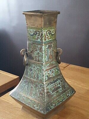 £225 • Buy Chinese Bronze Vase, Hexagonal Form With Ring Handles And Champleve Enamel Bands