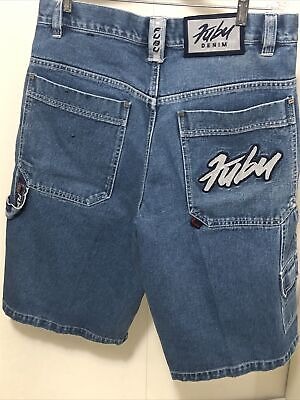 $30 • Buy VTG FUBU The Collection Jean Shorts Men's Sz 34 Denim Embroidery BAGGY Faded 90s
