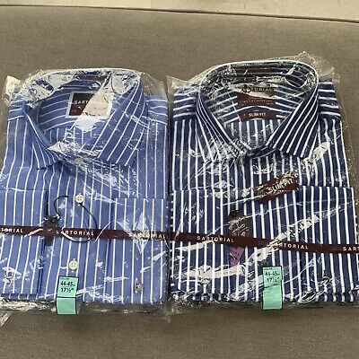 £20 • Buy Two Men's Sartorial M & S Blue Striped Shirts 17.5 Retail £39.50 Each New