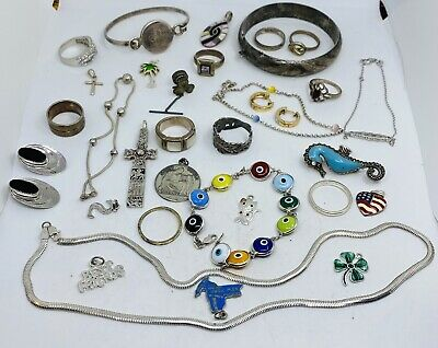 $ CDN4.09 • Buy Lot Of Vintage STERLING SILVER 925 Jewelry Lot - Unique Pieces! 139 Grams