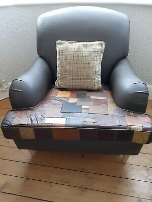 £250 • Buy Real Brown Leather Chair With Patchwork Seat Cushion And Chenille Sides And Back
