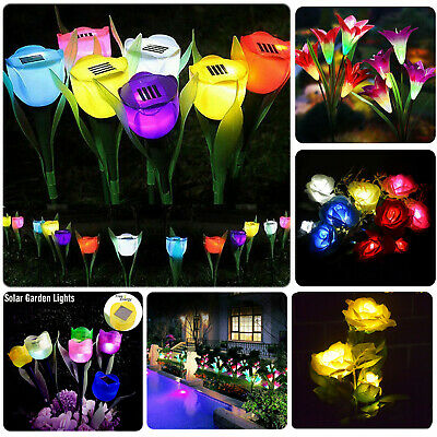 £6.99 • Buy LED Solar Power Lily Rose Flowers Stake Lights Outdoor Garden Path Luminous Lamp