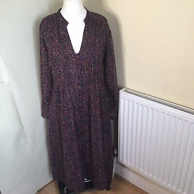 £12.99 • Buy Penny Plain Uk 12 Paisley Lined Autumnal Lined Casual Button Down Dress