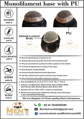 £120 • Buy Men's Hairpiece Toupee Hair Replacement System - Monofilament With PU - Colour 4