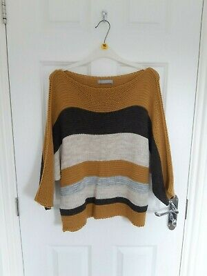 £1.99 • Buy LV Clothing Yellow Brown And Grey Knitted Slouchy Jumper Size Medium
