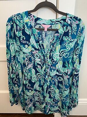 $50 • Buy NWOT! Lilly Pulitzer Harbour Island Tunic Top Blouse Tidal Wave, Size Medium