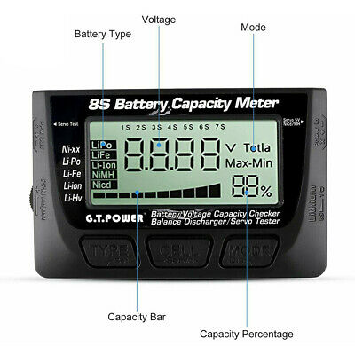 £13.59 • Buy 2-7S LiPo Battery Voltage Cell Capacity Test Meter Tester F RC Boat Car Airplane