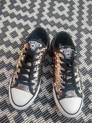 £15 • Buy Converse All Stars Size 5 Bronze Sequins On Black. Excellent Condition.