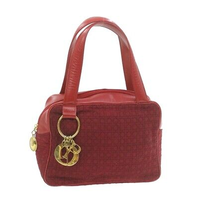 $ CDN264.36 • Buy CHRISTIAN DIOR Lady Dior Canage Hand Bag Red Nylon Auth Rd1897