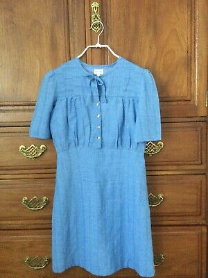 £22 • Buy Brora Blue Cotton Chambray Summer Dress Neat Detailing Sz 6 Immaculate
