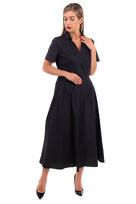 £10.99 • Buy CARACTERE Midi Fit & Flare Dress Size IT 44 / M Black Short Sleeve Collared
