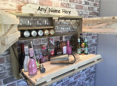 £225 • Buy Bespoke Wall Mounted Outdoor Drinks Bar Made From Rustic Reclaimed Wood.