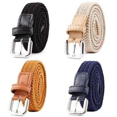 £4.16 • Buy Men Women Casual Stretchy Canvas Belt For Jeans Woven Belt With Alloy Buckle