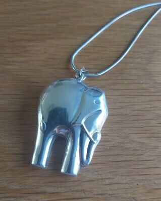 £11.50 • Buy Sterling Silver Double Sided Elephant Pendant Necklace 925
