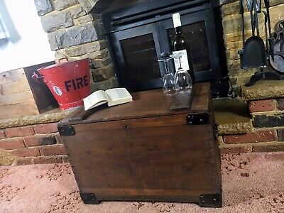 £149.99 • Buy Old Antique Pine Chest, Vintage Wooden Storage Trunk, Blanket Box, Coffee Table.