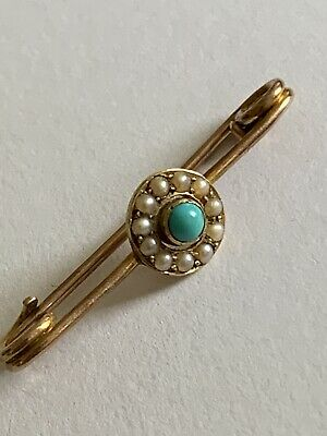 £11.50 • Buy Pretty Victorian 9ct Gold Turquoise & Seed Pearl Set Brooch