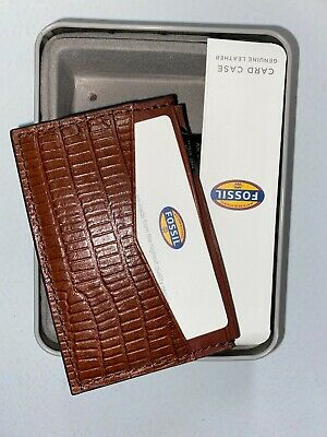 $20 • Buy New Fossil Men's Leather Francis Card Case Front Pocket Wallet Cognac Ml3502222