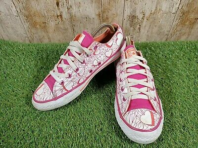 £16.90 • Buy All Star Converse Junior White/Pink Hearts Trainers Sneakers Size 4 UK 37 EUR