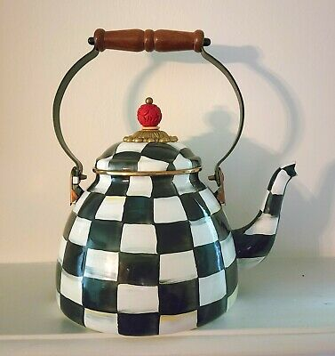 $99 • Buy MacKenzie-Childs SIGNED 2 Quart Courtly Check Tea Kettle