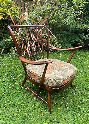 £350 • Buy Pair Of Matching Ercol Evergreen Windsor Midback Armchairs With Paisley Cushions