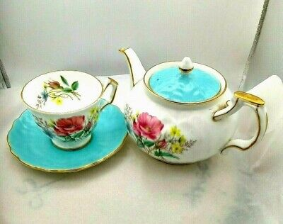 £40 • Buy Vintage Aynsley Cup And Saucer S 304 Wild Flowers Turquoise Saucer Teapot Unused