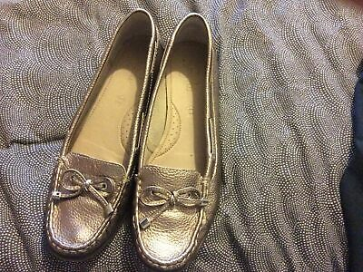 £12.99 • Buy Footglove M&s Gold Bronze Leather Moccasin Shoes Size 6