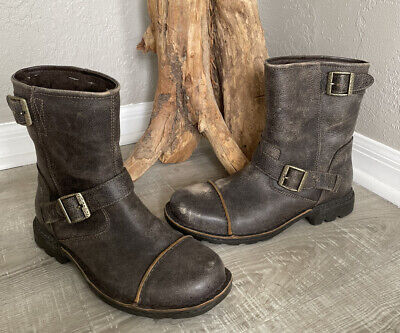 $67.95 • Buy UGG Rockville Mens 10.Distressed Brown Leather Shearling Lined Boots Buckle