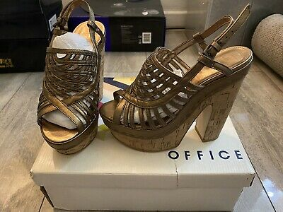 £17.99 • Buy Bronze Leather OFFICE High Heel Wedge Shoes Sandals Size 3 * New * BNIB