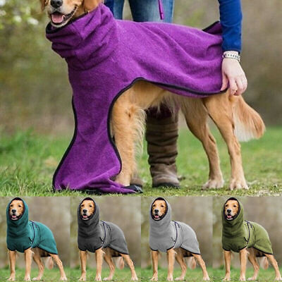 £7.29 • Buy Pet Dog Clothes Cute Soft Hoodie Towelling Drying Robe Soft Outdoor Warm Coat