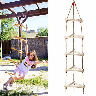 £9.99 • Buy 5 Steps Triangle Climbing Holds Rope Swing Frame Wooden Ladder Outdoor Playhouse