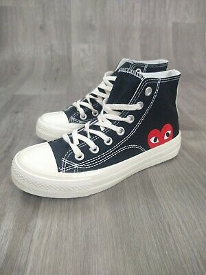 £19.95 • Buy Womens Converse Style High Top Trainers Sneakers Heart Logo Black And Red