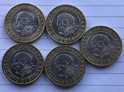 £23 • Buy £2 Two Pound Shakespeare Skull (Tragedies) 2016 Circulated Coins Job Lot X 5.