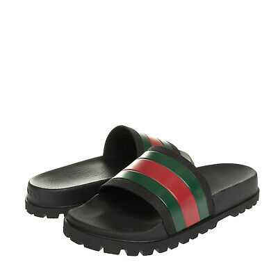 AU25.49 • Buy GUCCI Web Slide Sandals EU 43 UK 9 US 9.5 Rubber Lug Sole Footbed Made In Italy