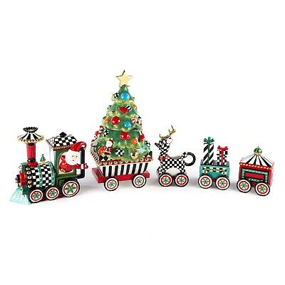 $495 • Buy MacKenzie Childs Special Christmas Centerpiece 5 PIECE HOLIDAY TRAIN New In Box