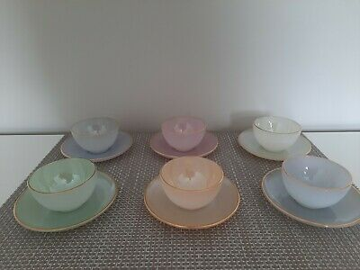 £50 • Buy Vintage French Arcopal Iridescent Harlequin Set Of 6cups And Saucers