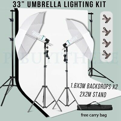 AU88.99 • Buy 2x135W CFL Bulbs Photography Umbrella Lighting Stand Kit+2 Backdrops Support Set