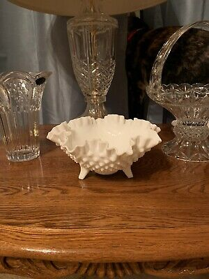 $11 • Buy Vintage Fenton Milk Glass Hobnail Bowl Candy Dish 3 Footed Ruffle Edge