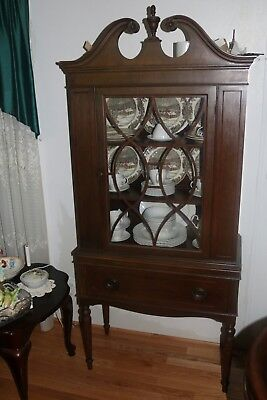 $325 • Buy *Rare* Early Federal Style Glass China Cabinet Solid Mahogany !!!!