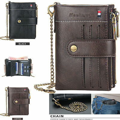 $ CDN12.04 • Buy Men Men's Leather Wallet ID Sim Credit Card Holder Double Zipper Coin With Chain