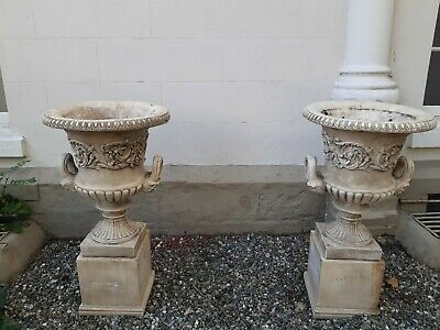 £250 • Buy 3x Large Victorian Stone Cast Urns With Plinths