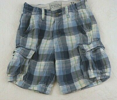 $33.99 • Buy Vintage Abercrombie & Fitch Plaid Cargo Shorts Size 31 Heavy Cotton Button Fly