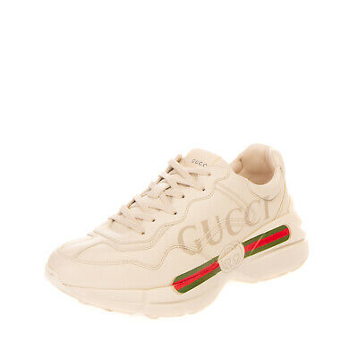AU346.63 • Buy RRP€640 GUCCI Leather Sneakers EU 41 UK 7 US 7.5 Web & Logo Print Made In Italy