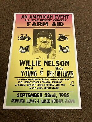 $7.99 • Buy Willie Nelson Neil Young Johnny Cash Farm Aid 1985 Concert Poster 12x18