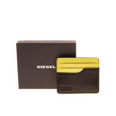 $ CDN19.12 • Buy DIESEL Leather Wallet Card Holder Case Grainy Two Tone Panel Aged Metal Logo