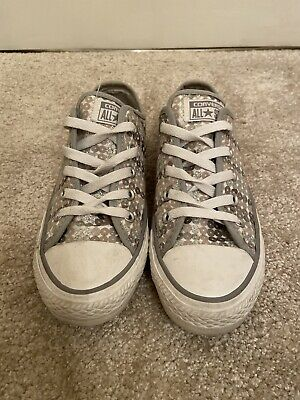 £14.99 • Buy Converse All Star Grey & Silver Sequin Lows (size Uk 4)