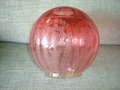 £51 • Buy A Most Beautiful Finely Etched And Ribbed Victorian Cranberry Oil Lamp Shade.