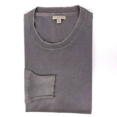 $35 • Buy Burberry Brit Sweater XL Cotton Gray Mens Size Pullover Long Sleeves Knit Jumper