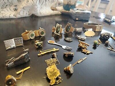 $18 • Buy Vintage Costume Jewelry Lot! Men's,  Cuff Links,  Pins, Tie Clips, Ring