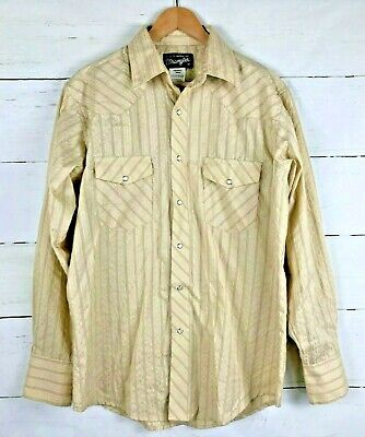 $22 • Buy Wrangler Pearl Snap Western Shirt Size M Mens Striped Embroidered Designs L1